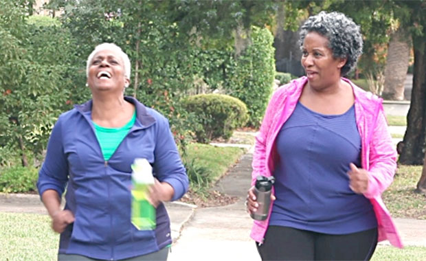 African American adult women walking